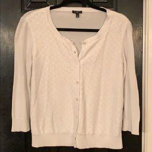 Talbots white cardigan medium petite